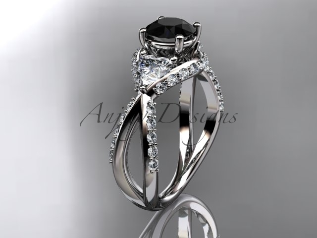 Unique 14kt white gold engagement ring with black diamond center stone ADLR318