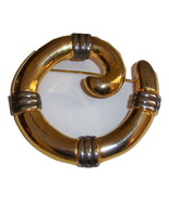 Abstract Swirl Pin. Gold Tone With Gray Accents. Large Pin. - $10.00