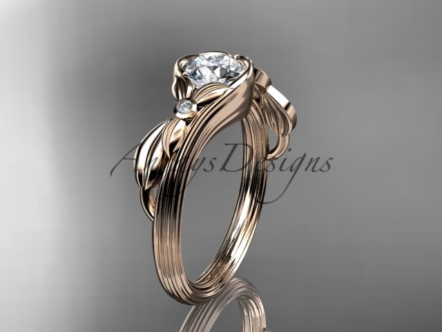 Leafring324 rose gold  diamond wedding ring  diamond engagement ring  forever brilliant moissanite  1