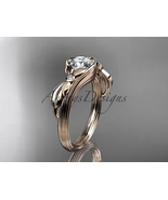 Unique 14kt rose gold diamond floral engagement ring, moissanite stone A... - $925.00