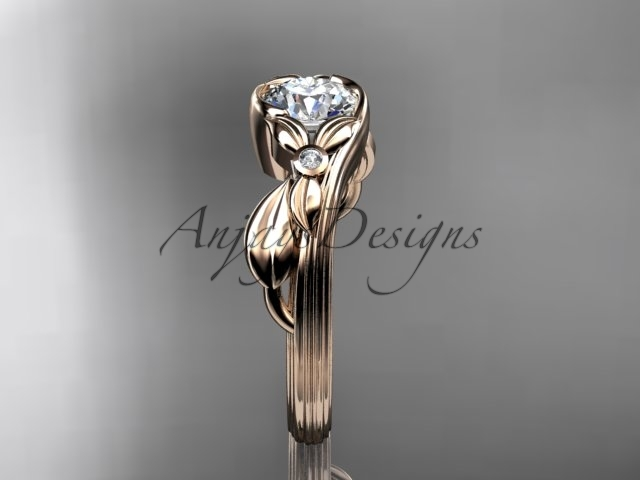 Unique 14kt rose gold diamond floral engagement ring, moissanite stone ADLR324