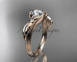 Leafring324 rose gold  diamond wedding ring  diamond engagement ring  forever brilliant moissanite  1 thumb155 crop