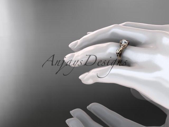 Unique 14kt rose gold diamond floral engagement ring, white sapphire ADLR324
