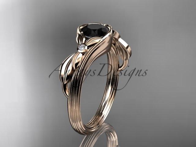 Leafring324 rose gold  diamond wedding ring  diamond engagement ring  black diamond  1