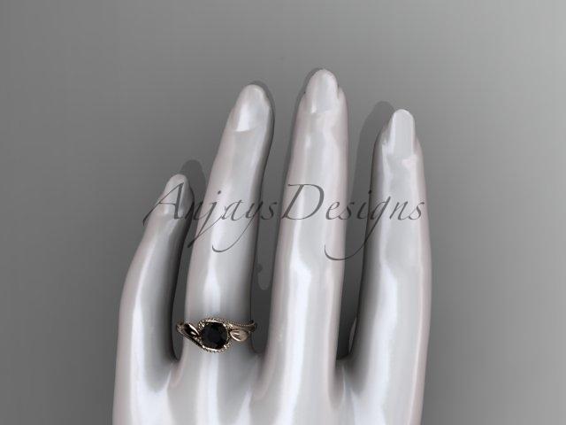 Unique 14kt rose gold floral engagement ring, black diamond center stone ADLR324