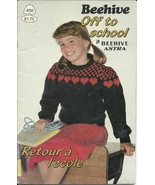 Patons Beehive 456 Knit Crochet Pattern Off to School Vest Sweater Hat - $2.93
