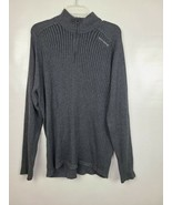 DKNY Jeans Mens Sweater Size XL Gray 1/4 Zip Ribbed Mock Neck Pullover C... - $30.50