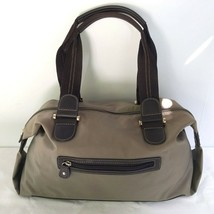 Liz Claiborne Purse Handbag Tote Zippered Nylon Vinyl Beige & Brown - $16.95