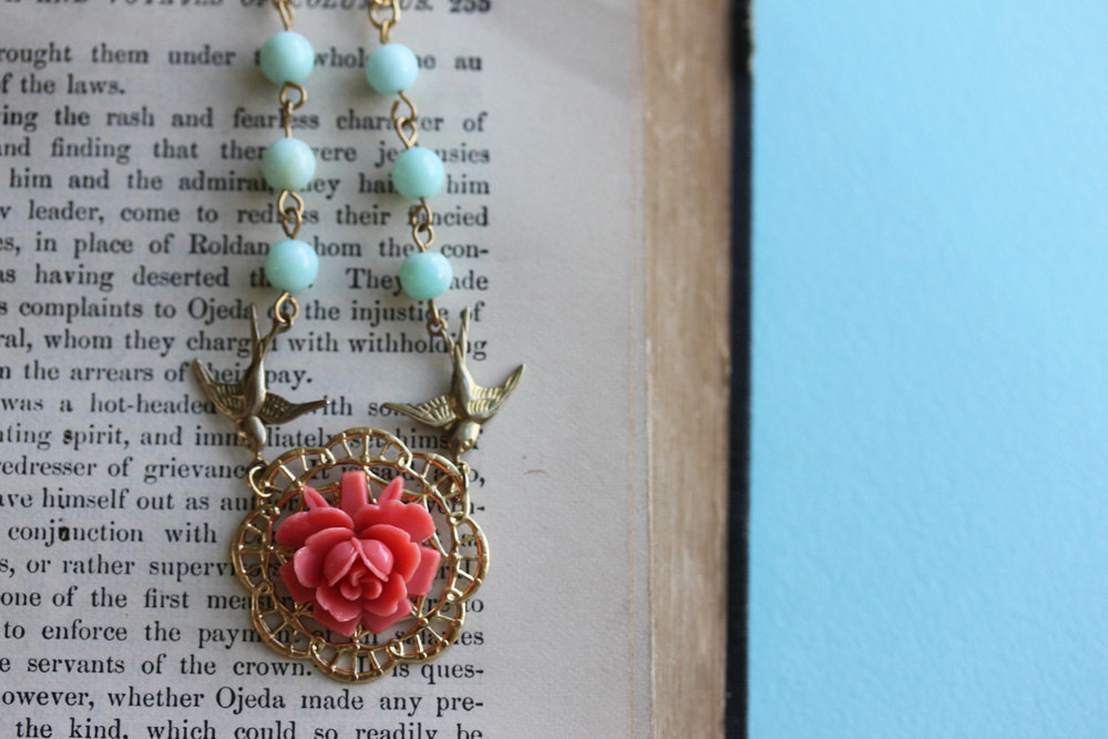 Coral Rose Necklace, Blue Turquoise Jewelry, Gold Bird Necklace, Flower Jewelry