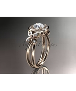 Unique engagement ring, 14kt rose gold butterfly engagement ring, with m... - $1,399.00