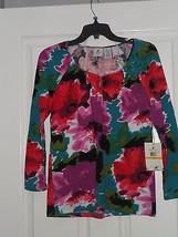 Caribbean Joe Knit Top Shirt Size Pxl Stretch Floral Print Msrp: $44.00 Nwt - $16.98