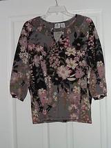 Caribbean Joe Knit Shirt Size S Floral Gray Print   Nwt - $16.99