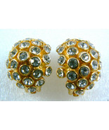 CHRISTIAN DIOR SIGNED GOLD TONE CRYSTAL RHINESTONES CLIPS EARRINGS NEW $... - $75.24