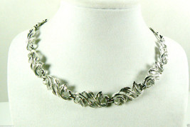 "VINTAGE CORO SIGNED SILVER TONE LINK FLORAL LEAFF  NECKLACE 16"" $0 SH - $100.14"