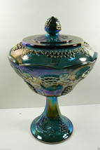 INDIANA CARNIVAL GLASS HARVEST IRIDESCENT GRAPE FOOTED COMPOTE BOWL VASE - $68.31