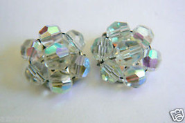VINTAGE  AURORA BOREALIS ROUND BEADS CLIP EARRINGS - $19.76