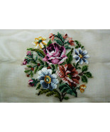 Vintage Bucilla Needle Point Tapestry Chair Canvas Floral Roses 23x23 - $34.75