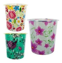 8 Floral Wastebaskets Girls Colorful Round Home Decorative Trash Containers - $28.99