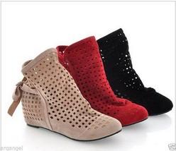 New Women's Summer Boots Flat Low Hidden Wedges... - $27.99
