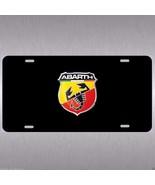 Fiat  Abarth 500 Aluminum Vanity License Plate Tag  Gloss Black Italian ... - $14.99