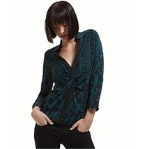 Diane Von Furstenberg Berriti Gala Flowers Ombre Teal Top  Blouse   Us 10   Uk14 - $108.69