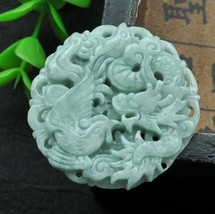 Hand carved natural green jade dragon Phoenix good luck jade gift charm pendant - $16.81