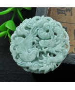 Hand carved natural green jade dragon Phoenix good luck jade gift charm ... - $16.81