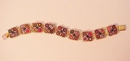 Unsigned Vintage Bracelet Multi-color Enamel circles pastel colors - $26.95