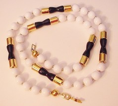 VINTAGE WHITE BEADED LONG STRAND NECKLACE SIGNED NAPIER GOLD TONE HOURGLASS - $22.00