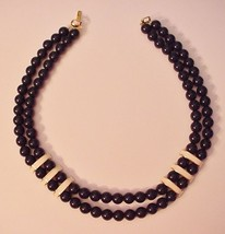 Napier Signed 2 Strand Navy Blue Beads Enamel Gold Tone Clasps Necklace - $24.95