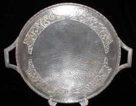 Vintage Pedestal Cake Plate Silver Hammered England 1930s Metal Serving Platter - $24.00