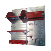 Craft Pegboard Organizer Storage Kit With Metallic Pegboard And Red Acce... - $148.39