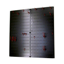 Kitchen Pegboard And Organization Kit With Black Pegboard And Red Access... - $77.69