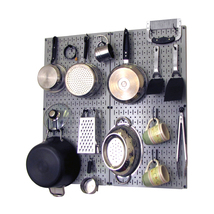 Kitchen Pegboard And Organization Kit With Gray Pegboard And Black Acces... - $76.47