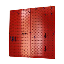 Kitchen Pegboard And Organization Kit With Red Pegboard And Black Access... - $86.38