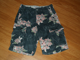 AMERICAN EAGLE OUTFITTERS CLASSIC CARGO SHORTS SIZE 26 GRAY FLORAL PRINT... - $18.99