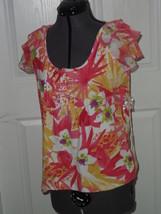 Caribbean Joe Knit Top Shirt Size S Beige Floral  Nwt - $16.99