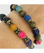 Handmade Natural Lava Rock Chakra Jasper Beads Bracelet Blue Pink Purple... - $34.64