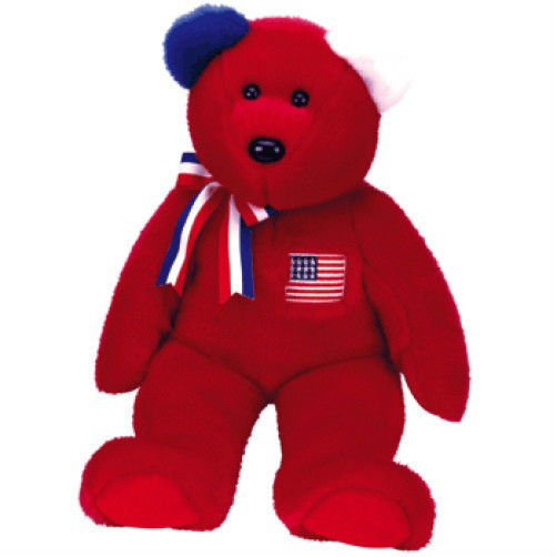 Patriotic Red America New MWMT TY Beanie Buddy Bear Collectors Quality