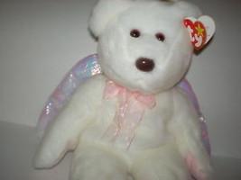 New MWMT Rare TY Beanie Buddy Halo Bear Iridescent Wings Pristine White - $9.46
