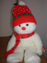 "MWMT Rare TY Beanie Buddy Snowboy Bear XMAS Colors Pristine White  15"" - $9.46"