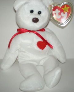 Rare TY Beanie Baby Valentino Bear Red Heart Collecters Quality PE 2d8abfc047ff