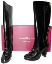 "$1175 Salvatore Ferragamo ""cornel"" Tall Black Boots Gancini Bit Booties ... - $369.91"
