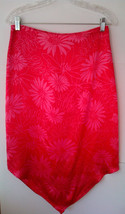 EXPRESS Women's 100% Silk V-Hem Skirt, Straight, Dark Pink, Floral, Size... - $19.89