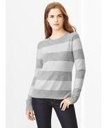 GAP Women's Stripe Lambswool Sweater Wool Blend Heather Grey Size M, NWT - $39.99