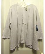Nine West Open Front Cardigan Sweater Silver White, Cotton Blend, Size L... - $75.00