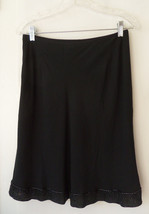 The Limited 100% Silk Black Embellished A-line Skirt Lined Knee-Length S... - $40.87 CAD