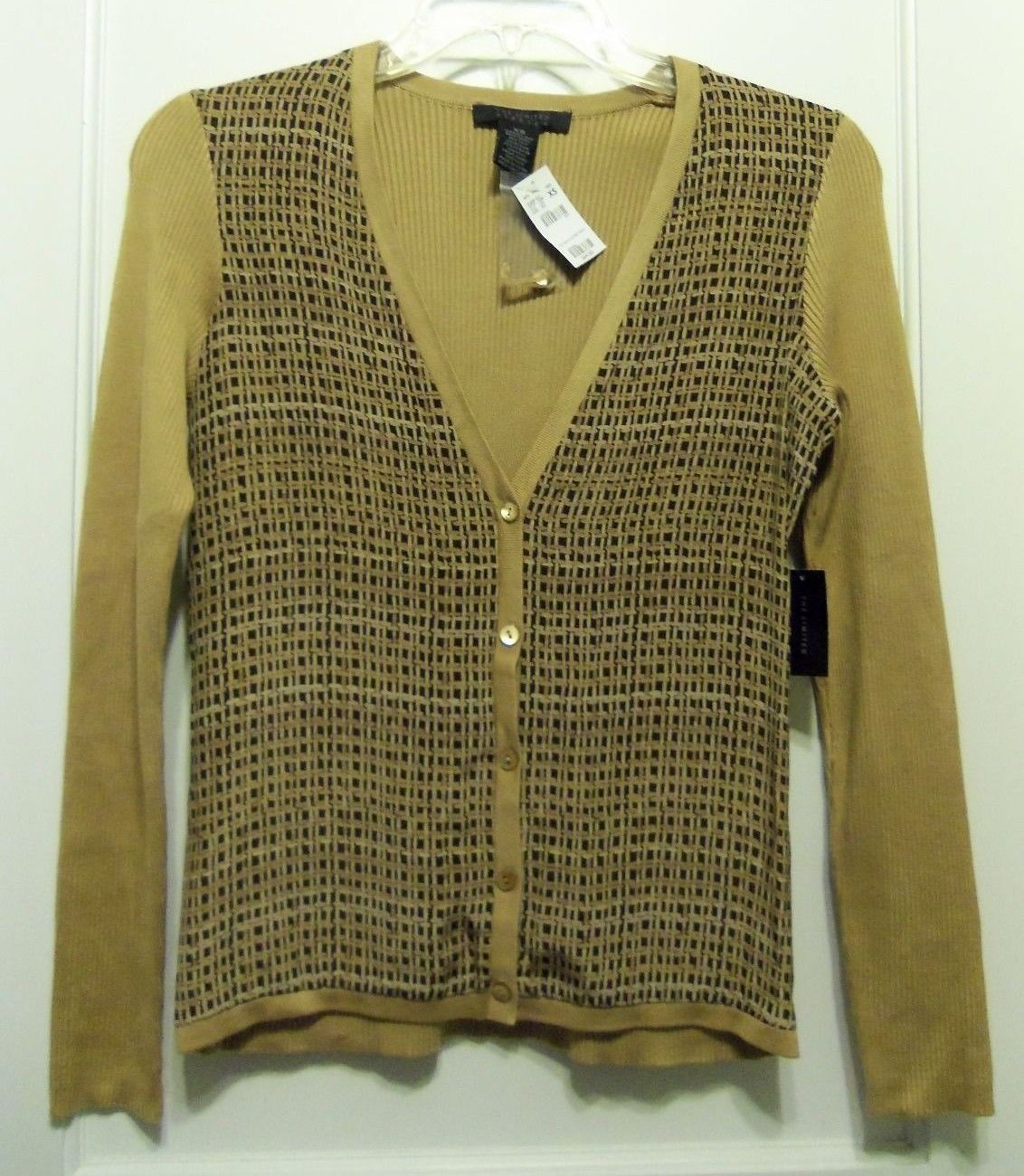 Primary image for The Limited Silk Cardigan Sweater, Brown/Tan, Geometric, Size XS-S, NWT
