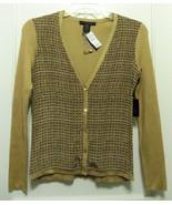 The Limited Silk Cardigan Sweater, Brown/Tan, Geometric, Size XS-S, NWT - $34.99