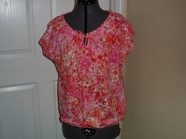 JONES NEW YORK SPORT KNIT SHIRT TOP SIZE S RED PINK PRINT  MSRP: $54.00 NWT - $16.98